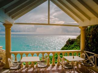 Restaurant on coast of tropical island