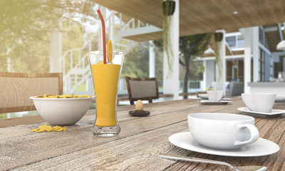 3d rendering nice wood dining table with coffee set and orange juice and coffee set in the morning near the garden with sun glare