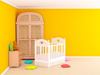 baby room orange with cabinet