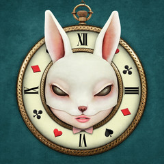 Fantasy illustration with a pocket watch Wonderland and head mask bunny girl