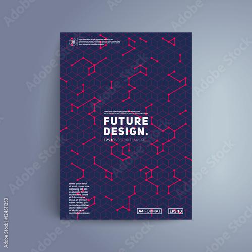 Futuristic Cover Design Colorful Isometric Shapes On Dark