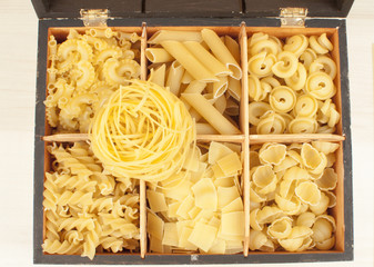 differnt kind of pasta in golden box