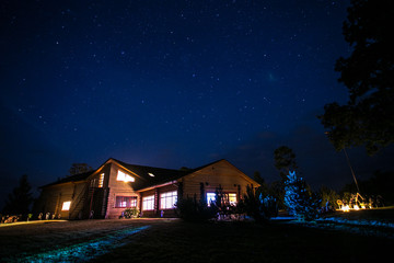 Keuken foto achterwand Nacht Cottage house at night