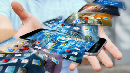 Businessman switching phone background on modern device 3D rende