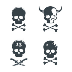 Set of skull. Design elements, icons, emblems and badges isolated on white background.