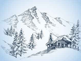 Nature in the mountains sketch, Winter landscape and winter holi