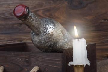 old wine bottle in a cellar
