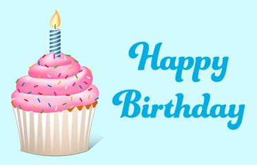 Happy Birthday Text mit Cupcake