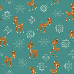 Winter retro seamless with baby deer and snowflakes