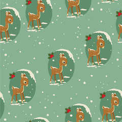 Winter retro seamless with baby deer