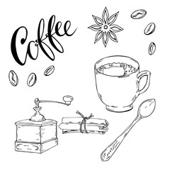 Coffee beans, cup, grunder and spice sketch. Hand lettering. Hand drawn vector illustration.