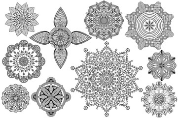 Set of Oriental & ethnic patterns for coloring book pages.