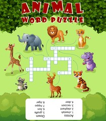 Card with crossword, education game for children about wild animals