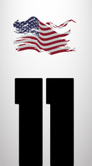 poster to American patriot day with eleven number silhouette and
