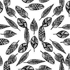 Ethnic boho seamless pattern. Zentangle stylized hand drawn leaves.