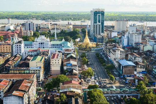 Aerial view of Sule pagoda in downtown, Yangon, Myanmar. Sule Pagoda located in the heart of Yangon