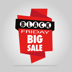 black friday illustration over red tag in gray color backdrop