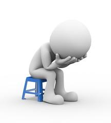 3d sad depressed person