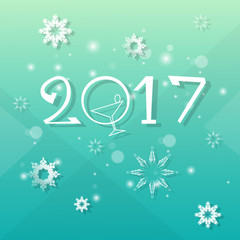 Happy New Year Decoration Celebration Banner Flat Vector Illustration