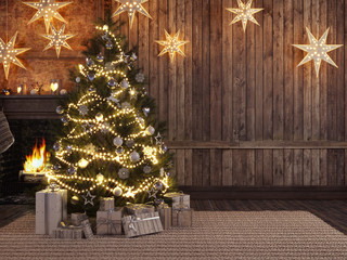 Christmas stocking on fireplace background. 3d rendering