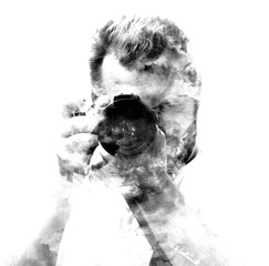 Double exposure male photographer looking at the camera, black a white