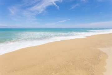 Blur beach and tropical sea,for scenery summer background.