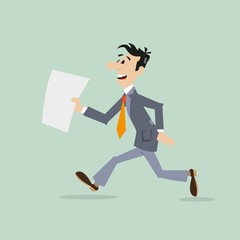 businessman running late. in the hands holding the document. vector illustration of cartoon
