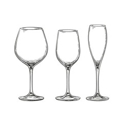Set of empty wine glasses.