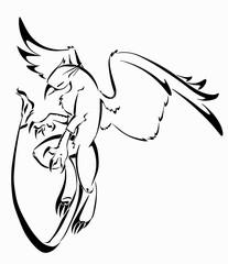 Griffon tribal tattoo