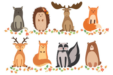 A set of cute animals on a white background isolated. Vector illustration in a flat style. Wild cat, hedgehog, elk, fox, deer, squirrel, raccoon, and bear.