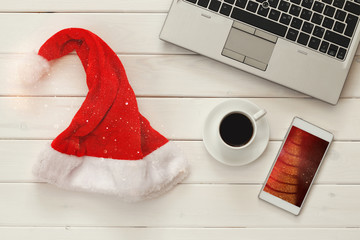 Online christmas holiday shopping concept