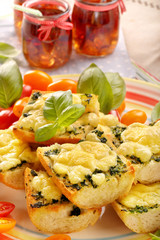 Fresh healthy vegetarian sandwiches with cheese and spinach