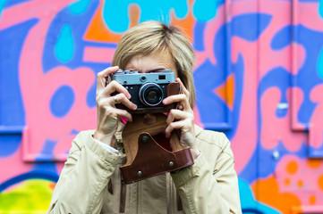 Girl with retro camera