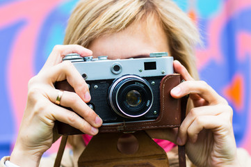 Girl with retro camera