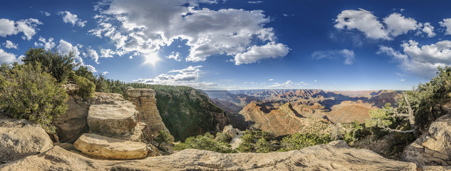 Photo sur Plexiglas Parc Naturel full 360 degree panorama of Grand Canyon South Rim, Grandview Point, Arizona, USA