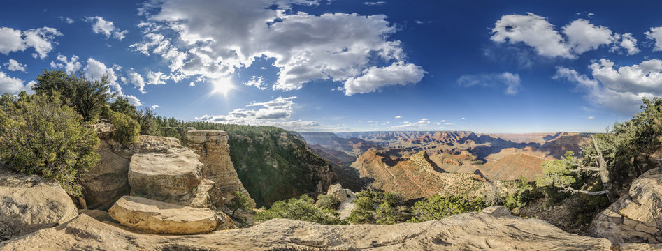 full 360 degree panorama of Grand Canyon South Rim, Grandview Point, Arizona, USA