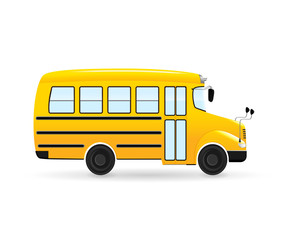 Vector cartoon school bus. Isolated from the white background.
