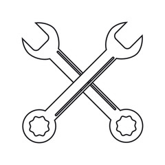 Wrench icon. Tool instrument and repair theme. Isolated design. Vector illustration