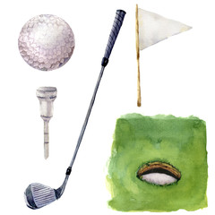 Watercolor different golf elements set. Golf illustration with Hole Course, tee, golf club, golf ball, flagstick and grass isolated on white background. For design, background or wallpaper