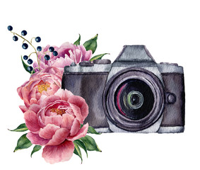 Watercolor photo label with peony flowers. Hand drawn photo camera with peonies, berries and leaves isolated on white background. For design, logo, prints or background