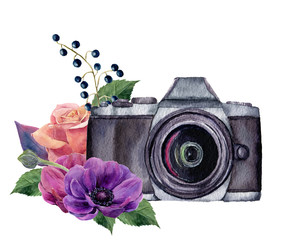 Watercolor photo label with flowers. Hand drawn photo camera with rose, berries, anemones and leaves isolated on white background. For design, logo, prints or background