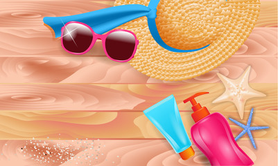 summer sale poster with body creams,  beach hat  blue rib