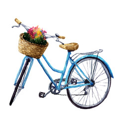 Watercolor bicycle with flowers in basket. Summer illustration isolated on white background.  For design, prints or background