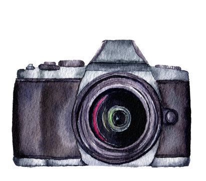 Watercolor photo label. Hand drawn photo camera isolated on white background. For design, logo, prints or background