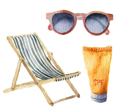 Watercolor beach suntan vacation set. Hand drawn summer objects: sunglasses, beach chair and sunblock or suntan cream. Illustrations isolated on white background. For design, textile and background.