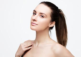 Beautiful woman girl with natural healthy makeup