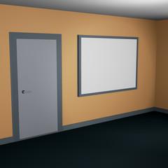 Lit interior mockup 3d illustration