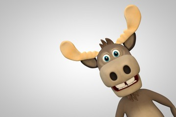 Cute moose cartoon animal zoo forest