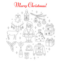 Christmas and New Year holiday line icons set, vector illustrations hand drawn. Christmas tree branch, Santa Claus with bag, reindeer, lantern, champagne, bells, gift box and holly leaves isolated.