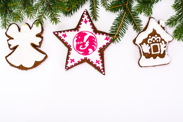Abstract Christmas and New Year Background with Gingerbread